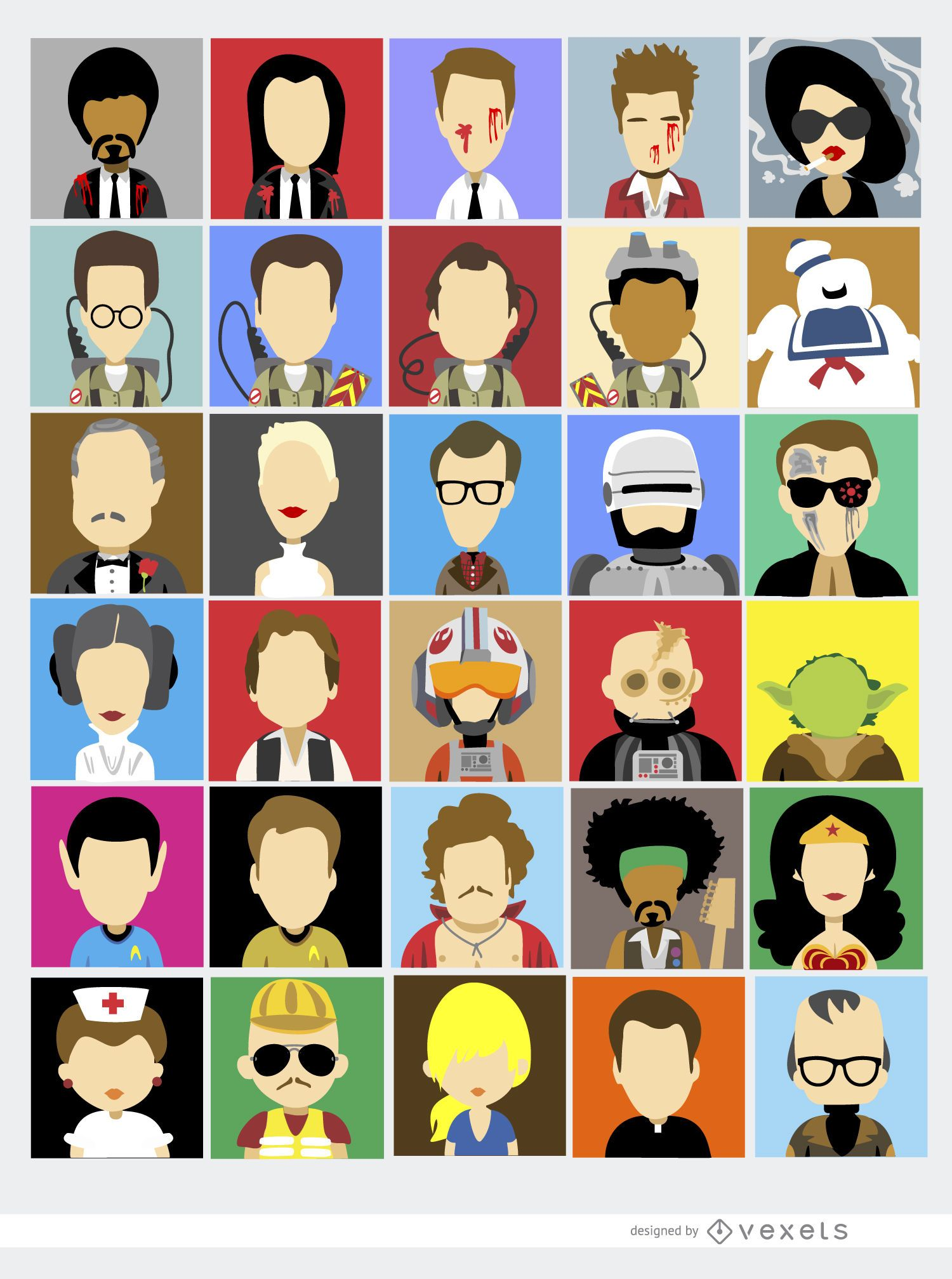 Famous Character Design Artists : Famous film characters vector download