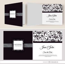 Open black floral wedding invitation
