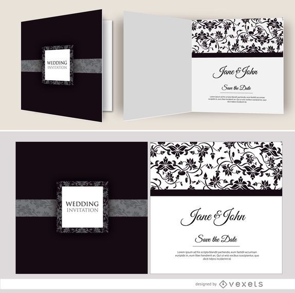 Convite de casamento floral preto aberto