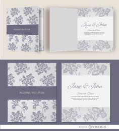 Invitación de boda floral gris abierta