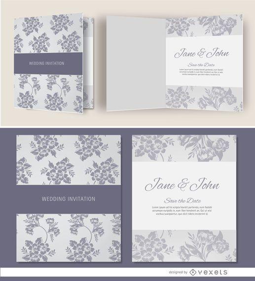 Convite de casamento floral cinza aberto