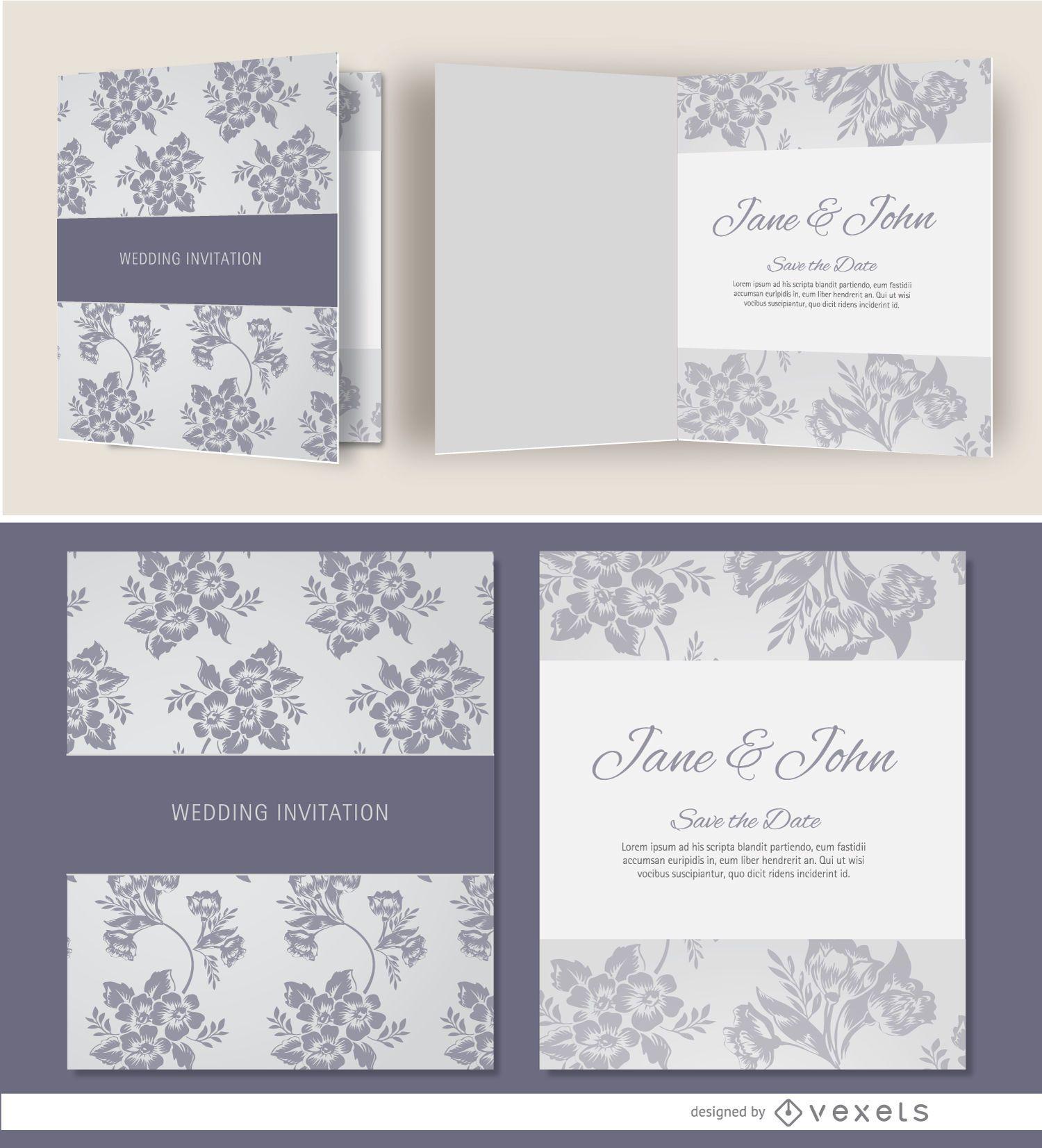 Open gray floral wedding invitation