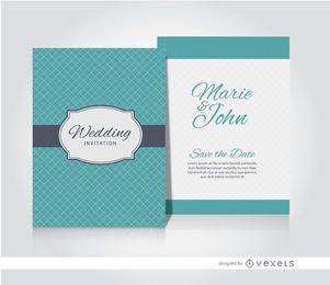 Manga de convite de casamento turquesa