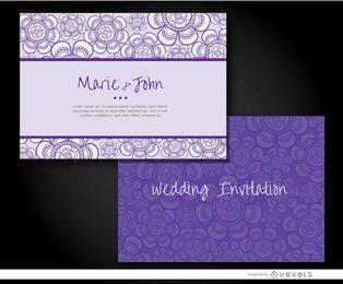 Manga de invitación de boda morada