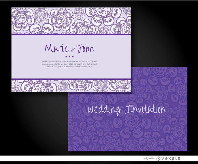 Manga de convite de casamento roxo
