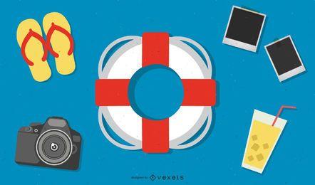 Concepto de verano infografía con iconos