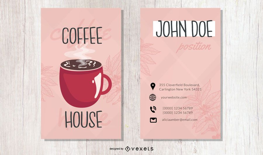 Coffee House Tall Business Card Template
