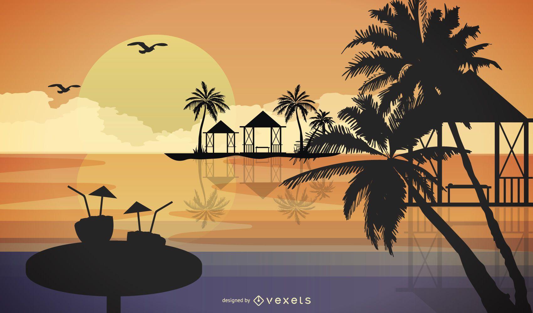 Desenho animado do resort de férias de verão