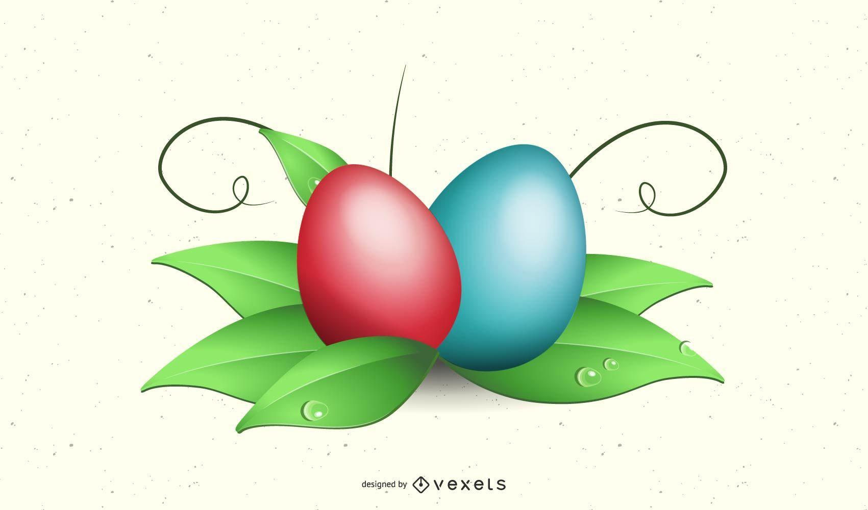 Huevos de Pascua abstractos en hojas