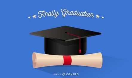 Gorra de graduación con diploma enrollado