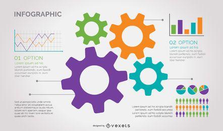 Infografía de negocios de rueda dentada colorida