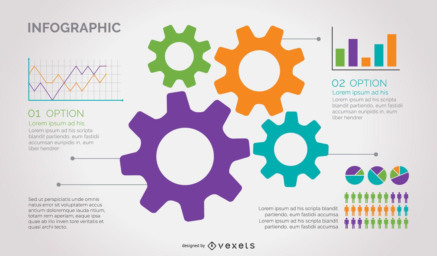 Infográfico colorido de negócios com roda dentada