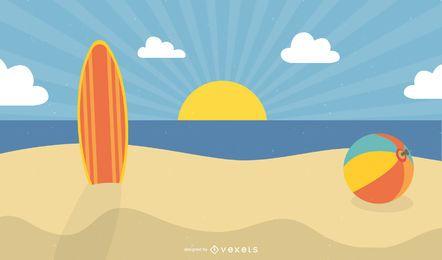 Pôr do sol de verão na praia