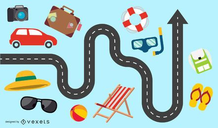 Infográfico de férias de verão de 3 vias