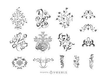 Conjunto de ornamento floral simple