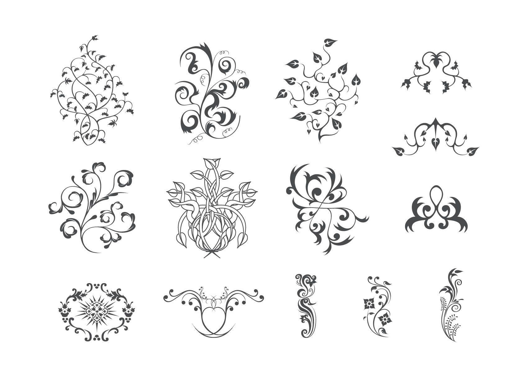 Conjunto de adornos florales simples