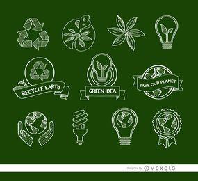 11 Doodle ícones ecológicos