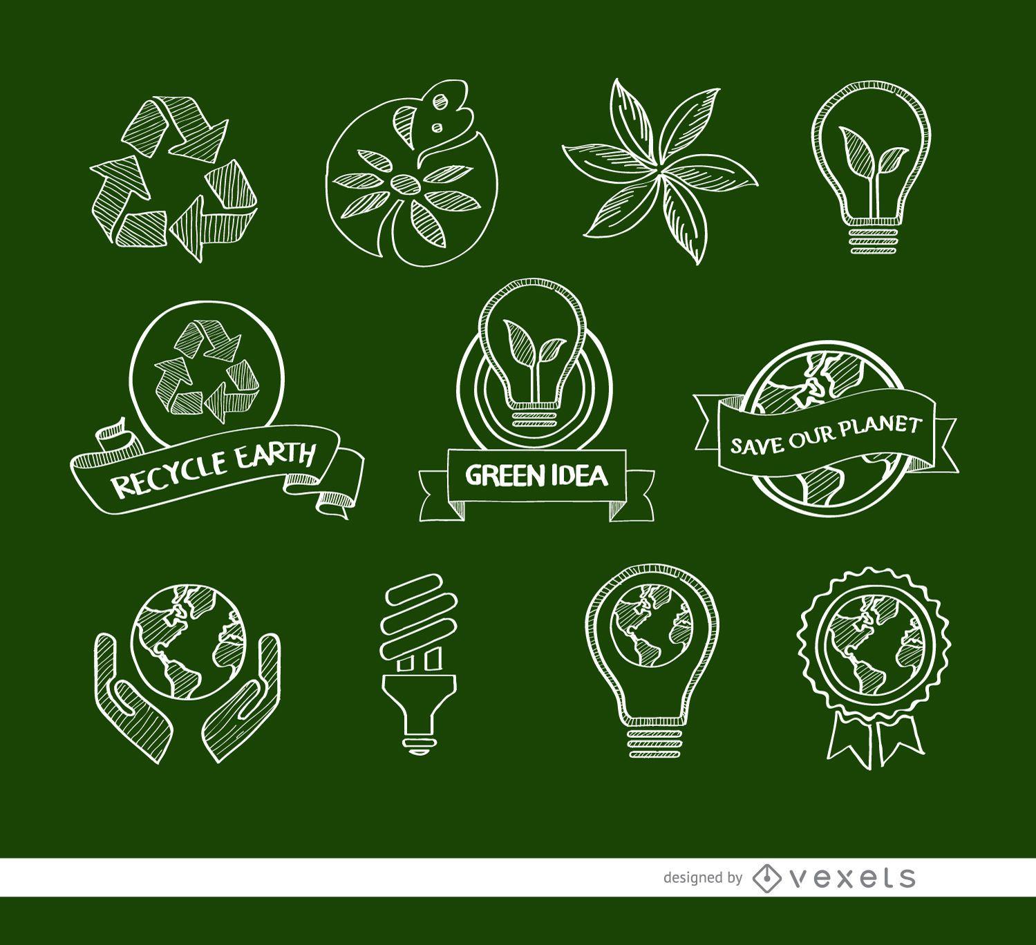 11 Doodle ecologic icons