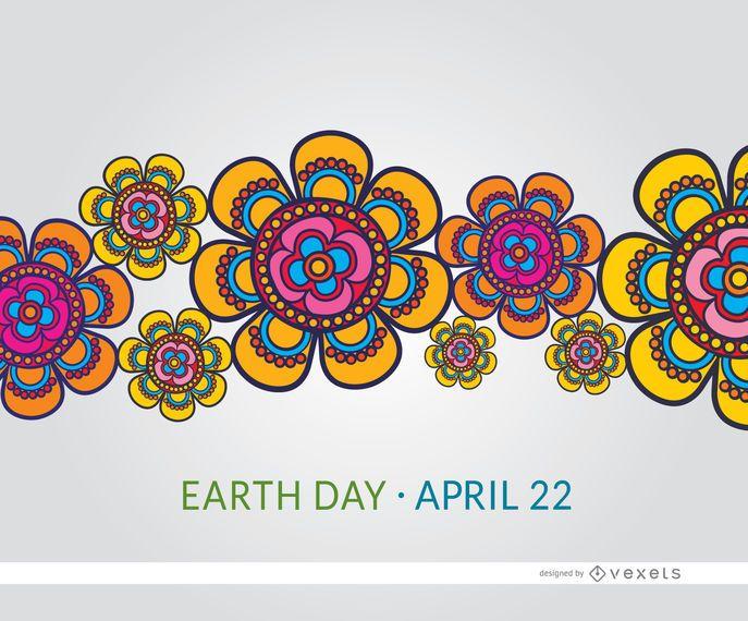 Bunte Blumentapete des Tag der Erde