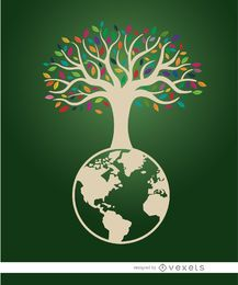 Cartaz ecológico da árvore da terra