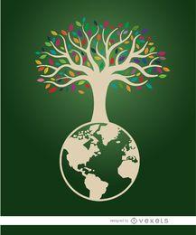 Cartel ecológico del árbol de la tierra.