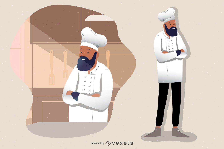 Chef de cocina de personaje de dibujos animados