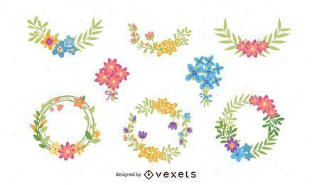 Pacote de coroa de flores e buquê