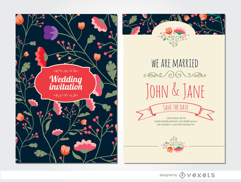 Classy wedding invitation flowers - Vector download