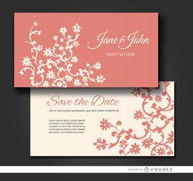 Tarjetas de invitación de matrimonio floral