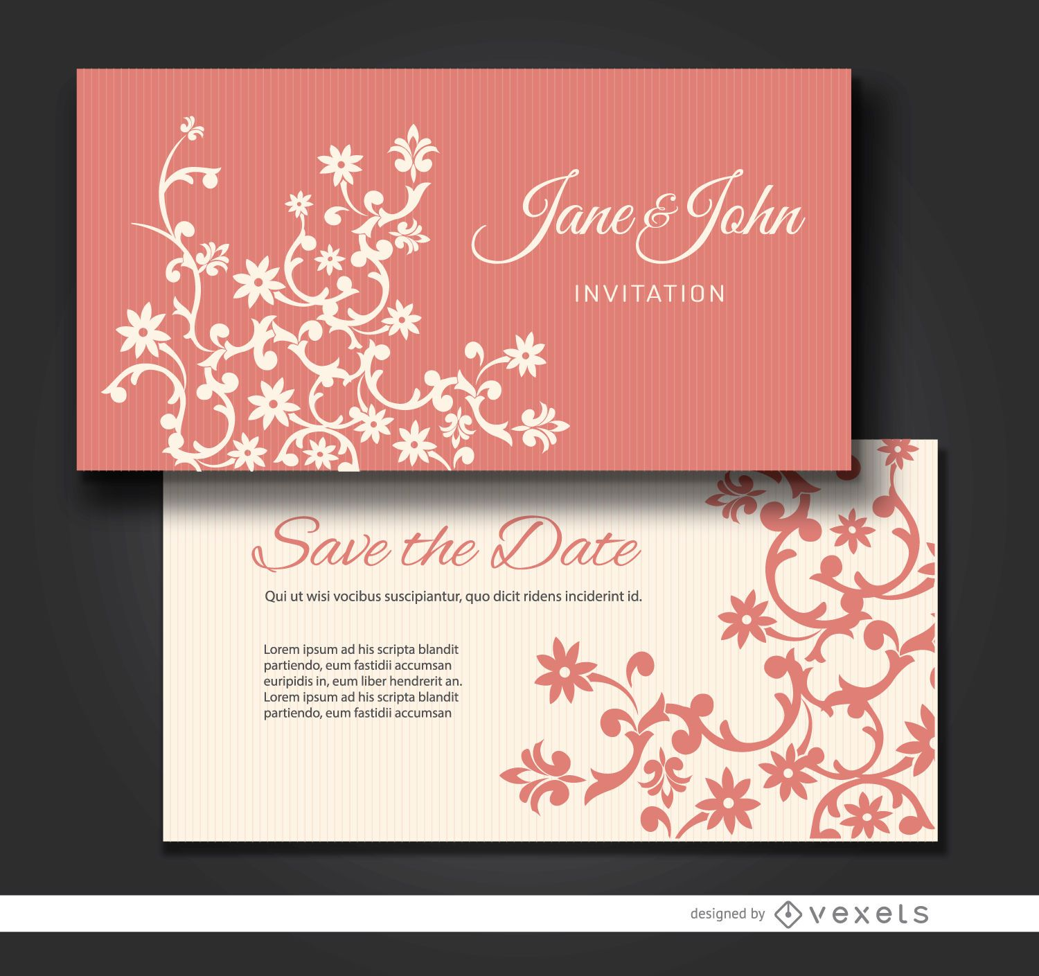 Floral marriage invitation cards
