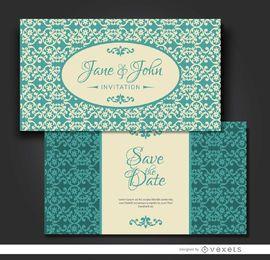 Invitación de matrimonio floral turquesa