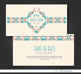 Convite Casamento riband floral