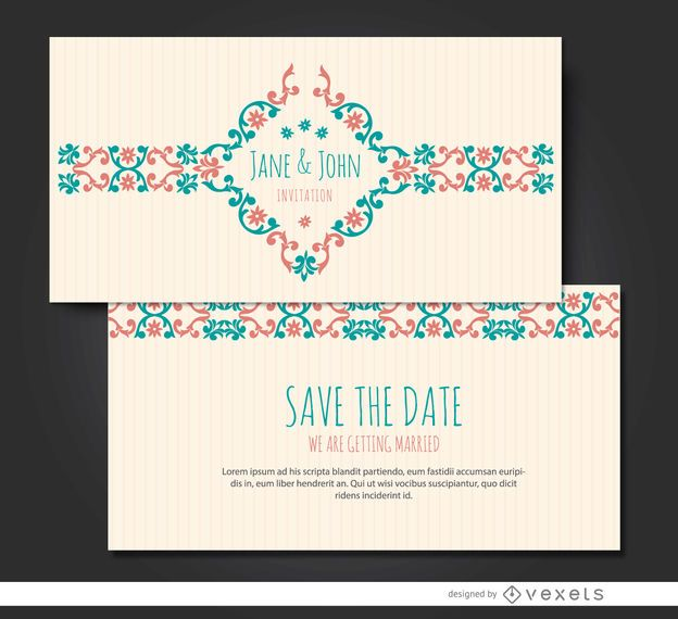 Marriage invitation floral riband