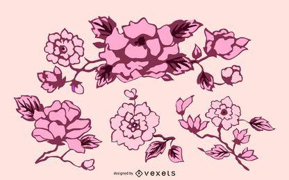 Conjunto de decoración de flores abstractas vintage