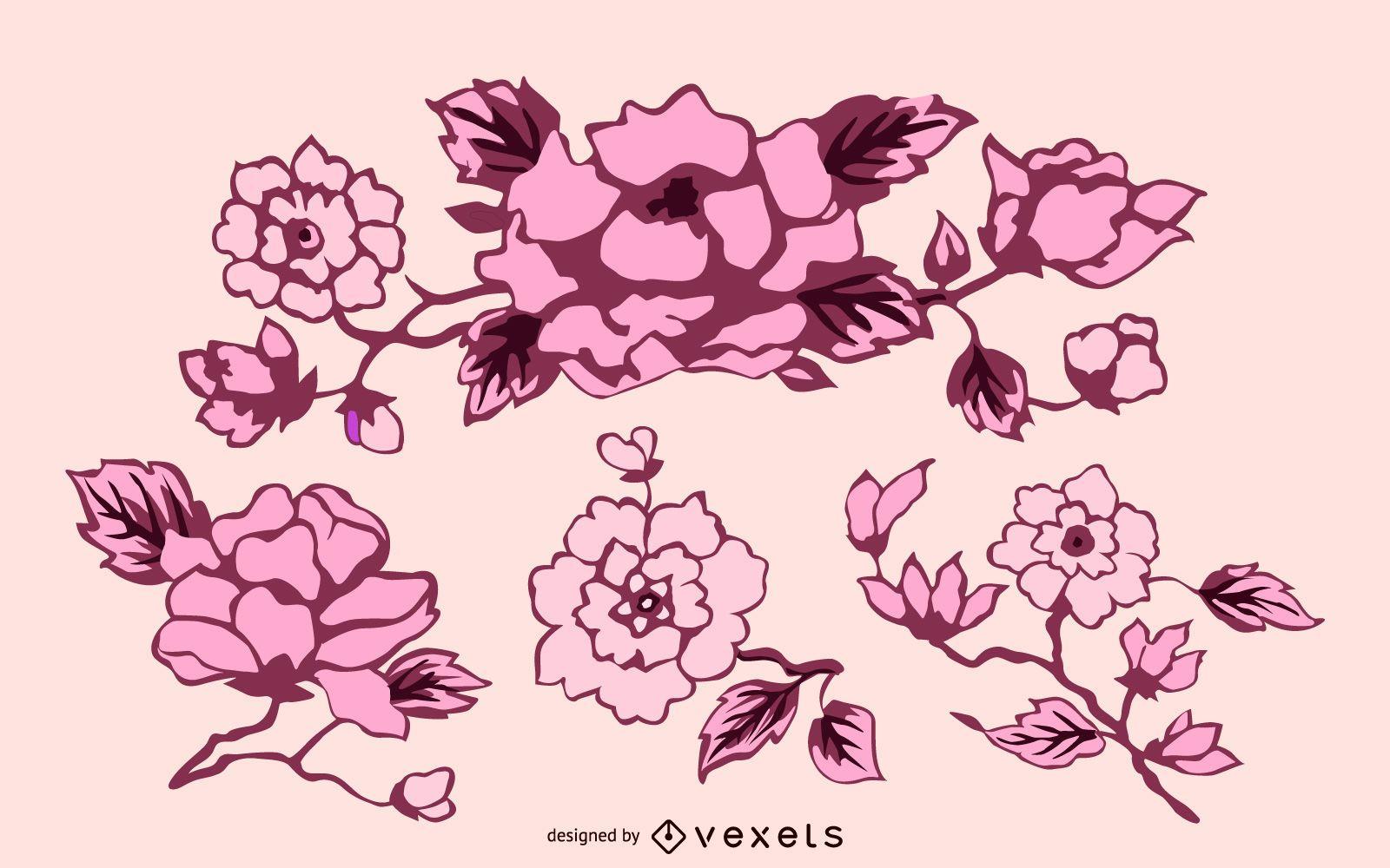 Conjunto de decoración de flores vintage
