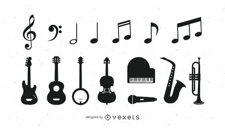 Ícones de instrumento musical preto & branco