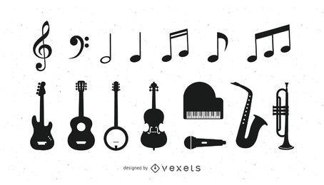 Ícones de instrumentos musicais em preto e branco