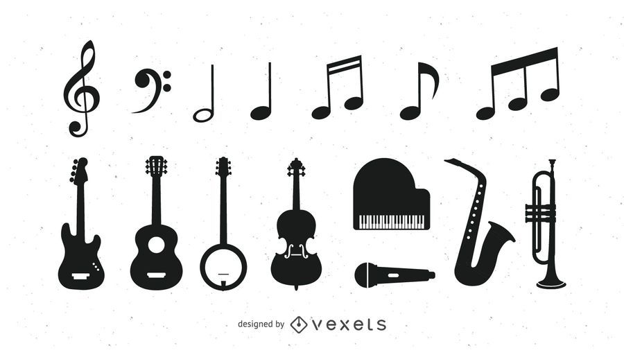 Black & White Musical Instrument Icons