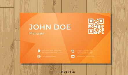 Orange Black QR Code Business Card