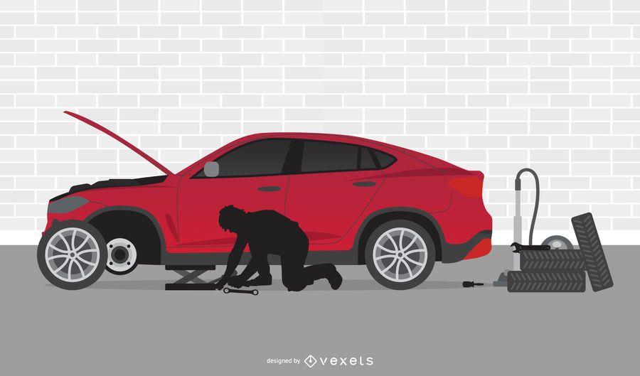 Dibujos animados de taller mecánico de automóviles