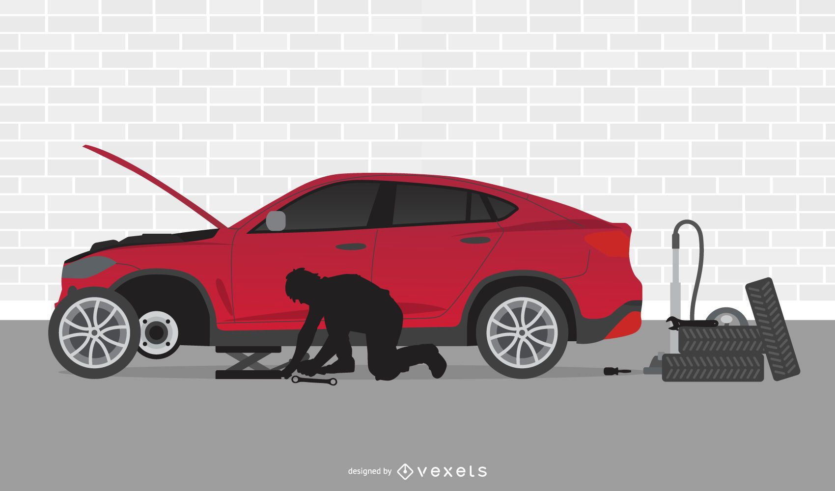 Automobile Mechanic Workshop Cartoon