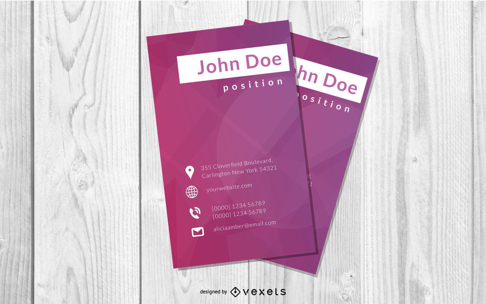Purple Vertical Business Card Template