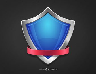 3D Blue Crest & Purple Ribbon