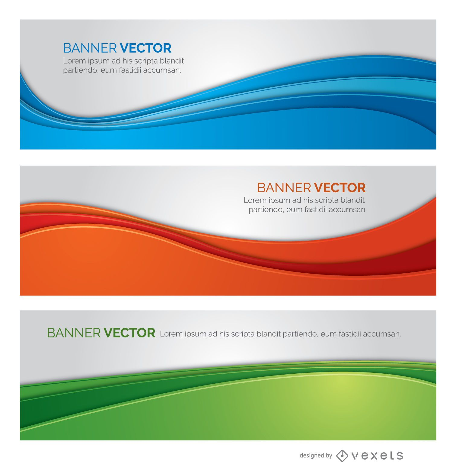 3 pancartas de colores ondulados