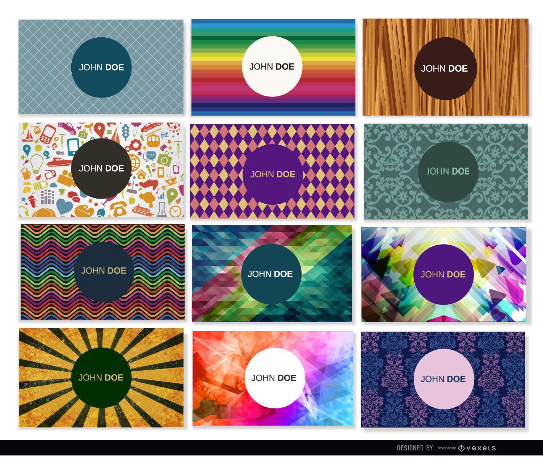 12 tarjetas de visita con diseños coloridos