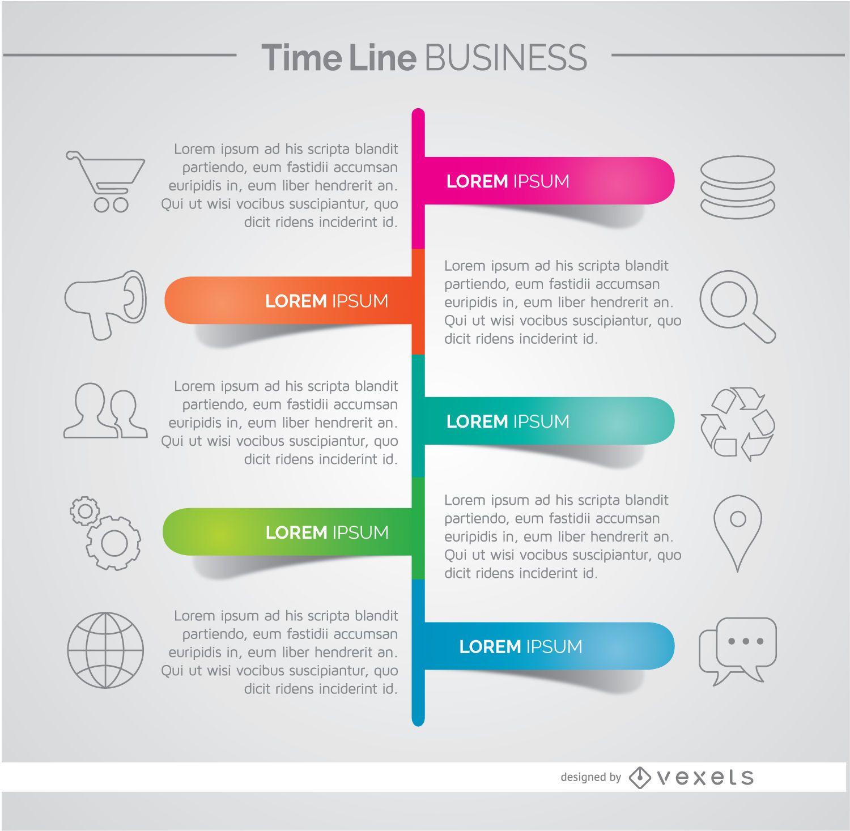 Infografía de desarrollo empresarial de línea de tiempo