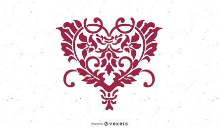 Floral Desenhado à Mão em Forma de Coração