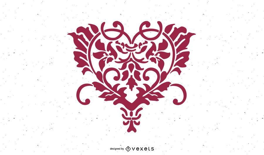Herzförmige Hand gezeichnete Blumen