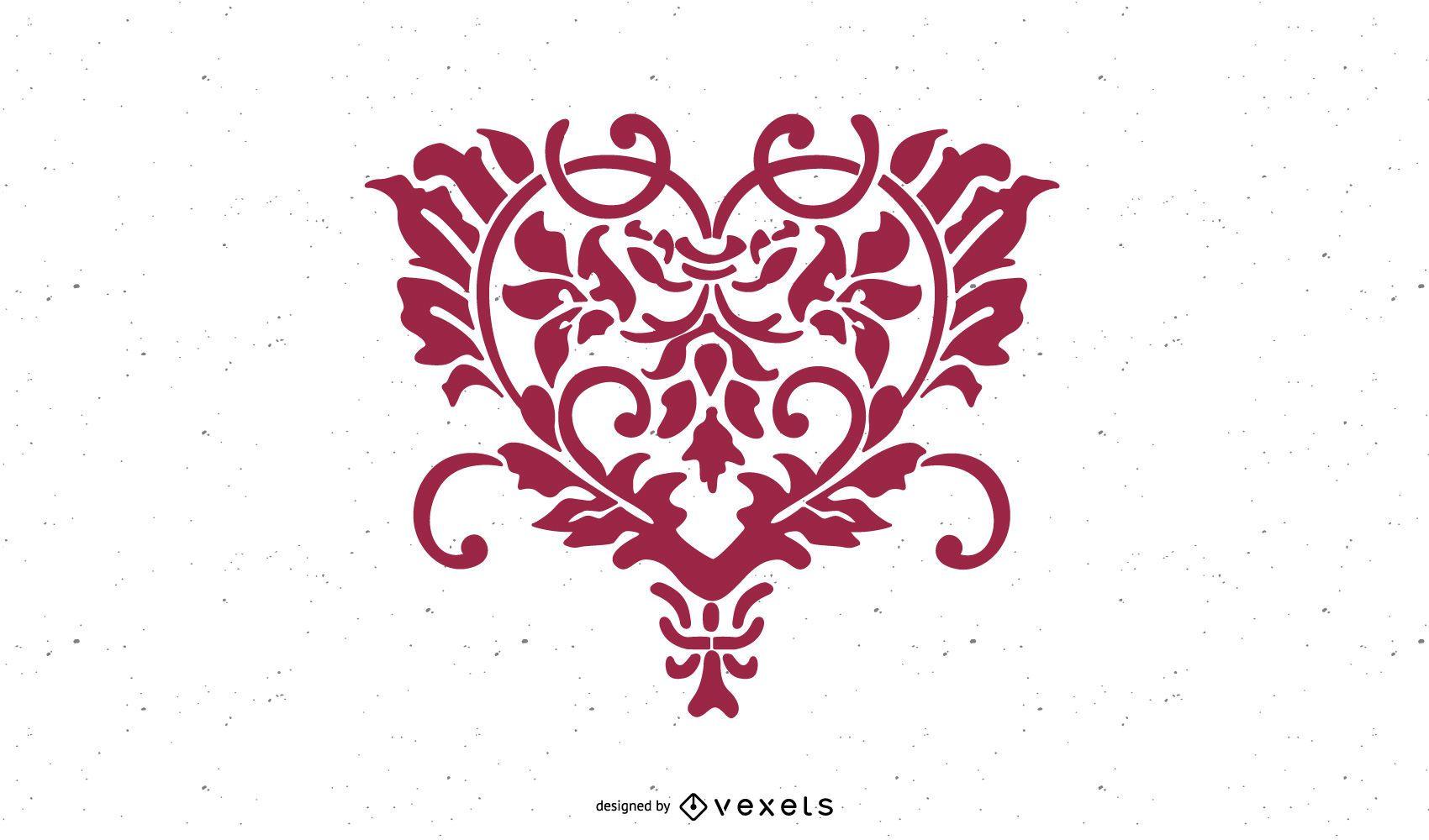 Flores dibujadas a mano en forma de corazón