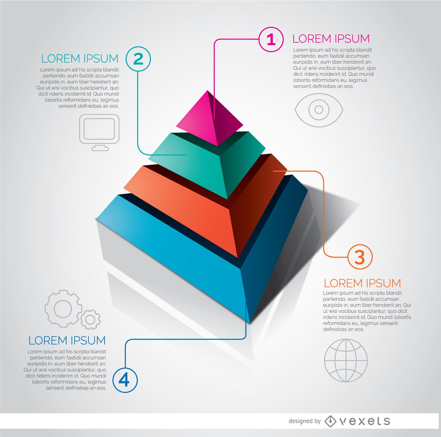 Infographic pyramid graph vector download for Grafica 3d gratis